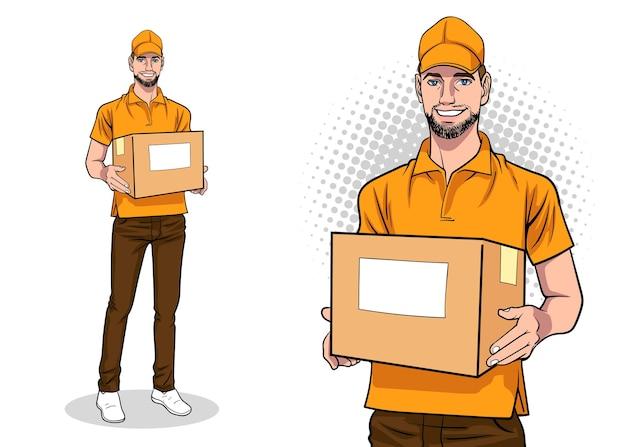 Empregado entregador com uma grande caixa no estilo de quadrinhos retro vintage pop art