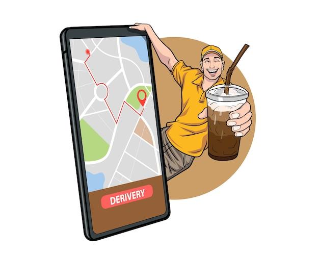 Empregado entregador com xícaras de café conceito online pop art comic style
