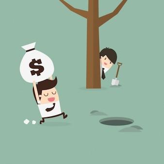 Empregado escondendo um saco de dinheiro