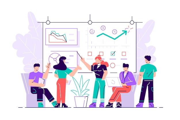 Empregado gerente que apresenta novo projeto de estratégia de negócios para executivos ou membros do conselho de diretores mais altos, chefes de mulheres. apresentação do diagrama do quadro branco. ilustração estilo simples