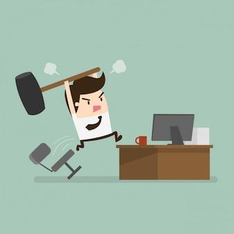 Empregado irritado com o escritório