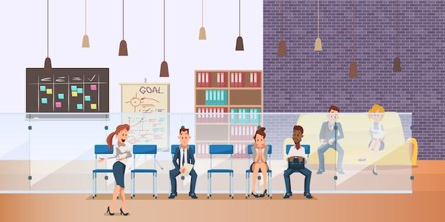 Empregado pensativo senta na fila para entrevista de emprego