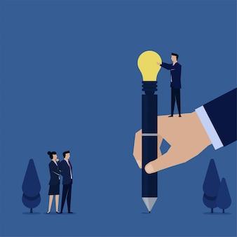 Empregado plano de negócios dá idéia de caneta realizada à mão