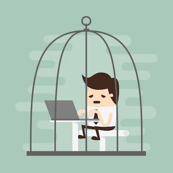 Empregado tired que trabalha em uma gaiola