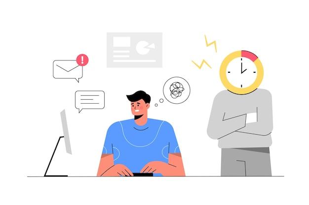 Empregado trabalhando em ilustração vetorial plana de escritório interior no local de trabalho, sob pressão, prazo de trabalho, resolução de problemas, tema de negócios