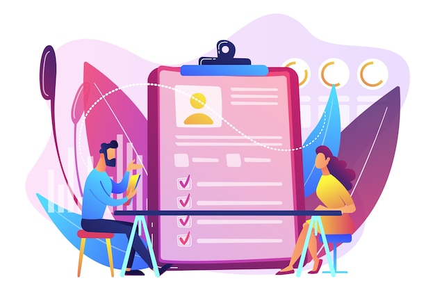 Empregador encontrando candidato a emprego na avaliação pré-contratação. avaliação de funcionários, formulário e relatório de avaliação, conceito de revisão de desempenho.