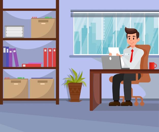 Empregador trabalhando em ilustração vetorial de escritório