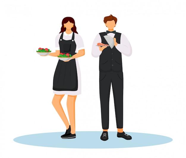 Empregados de mesa do hotel na ilustração de cor lisa uniforme.