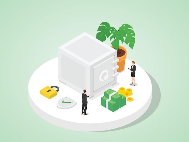 Empregados do banco armazenam dinheiro do cliente no cofre estilo bom design plano isométrico de segurança