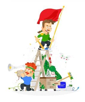 Empregados engraçados dos desenhos animados no escritório se divertir. guerras de escritório.