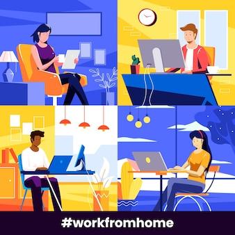 Empregados que trabalham em casa