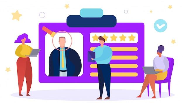 Emprego empresarial, ilustração de emprego de rh. caráter de pessoas humanas conceito de contratação e recrutamento. pessoa homem currículo
