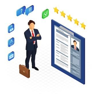 Emprego isométrico, conceito de recrutamento e contratação. recursos humanos da agência de empregos. candidato e currículo.