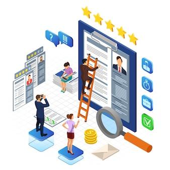 Emprego online, recrutamento, verificação de currículo e conceito de contratação