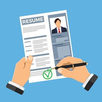 Emprego, recrutamento e conceito de contratação com currículo de candidato a emprego. Vetor Premium