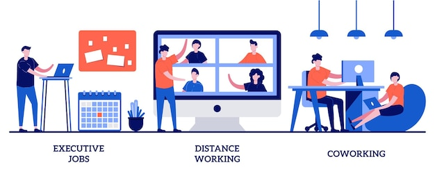 Empregos executivos, trabalho à distância, conceito de coworking com pessoas minúsculas. conjunto de ilustração abstrata de oportunidade de trabalho. crescimento profissional, reunião de equipe online, metáfora do espaço de escritório compartilhado.