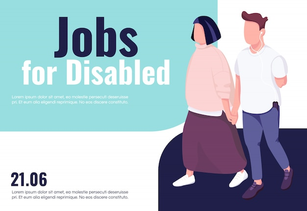 Empregos para modelo de banner com deficiência. brochura, design de conceito de cartaz com personagens de desenhos animados. folheto horizontal de inclusão e acessibilidade para pessoas com deficiência, folheto com lugar para texto