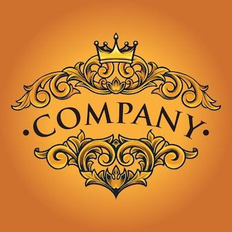 Empresa bussines vintage crown ornate ilustrações em vetor para seu trabalho logotipo, t-shirt da mercadoria do mascote, adesivos e designs de etiqueta, cartaz, cartões comemorativos anunciando a empresa ou marcas.