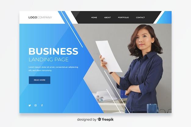 Empresa da página de destino com foto