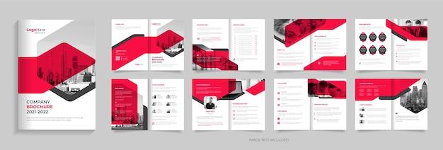 Empresa de 16 páginas de brochura, modelo, layout, design, vetor premium