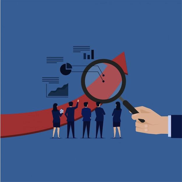 Empresa de auditoria de análise de equipe de negócios.