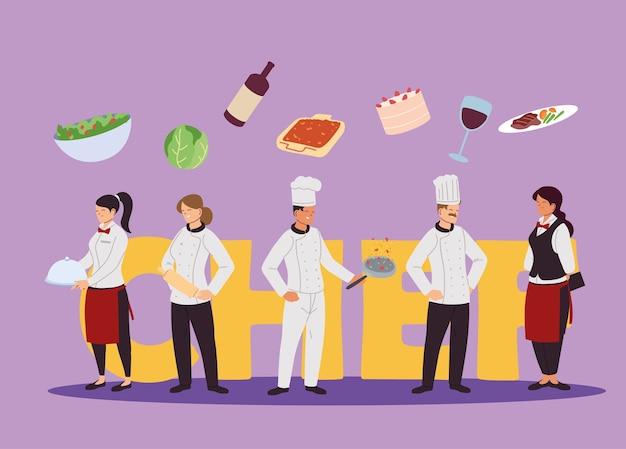 Empresa de desenho de ilustração de cozinheiros e garçons