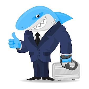 Empresa de ilustração de tubarões mantém a mala algemada, formato eps 10
