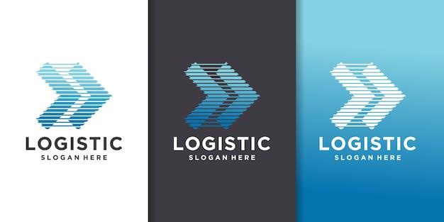 Empresa de logística - ilustração em vetor modelo logotipo conceito de negócio. sinal criativo de seta abstrata. serviço de entrega de transporte.