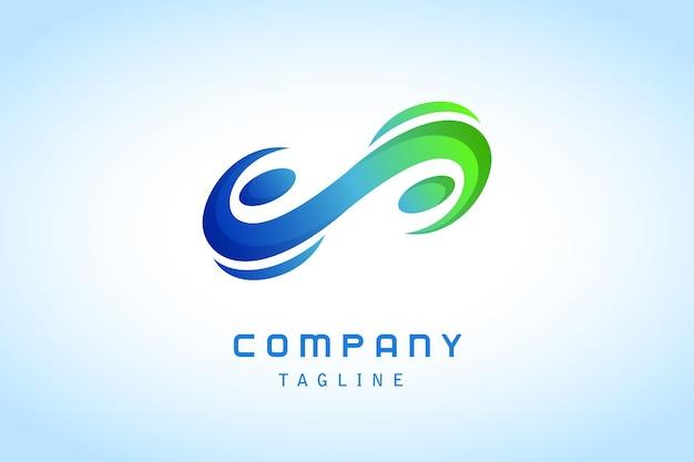 Empresa de logotipo gradiente abstrato azul verde infinito