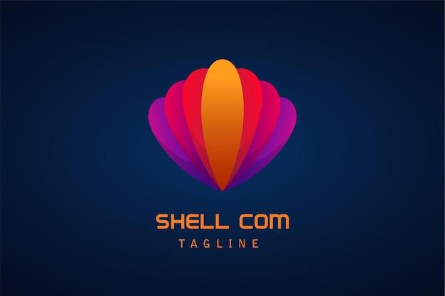 Empresa de logotipo gradiente de concha colorida