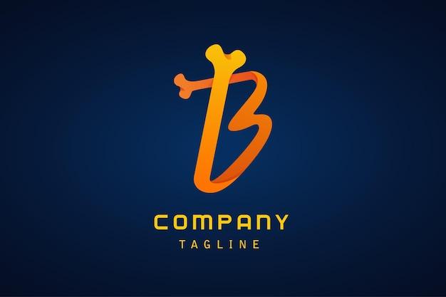 Empresa de logotipo gradiente de osso laranja letra b