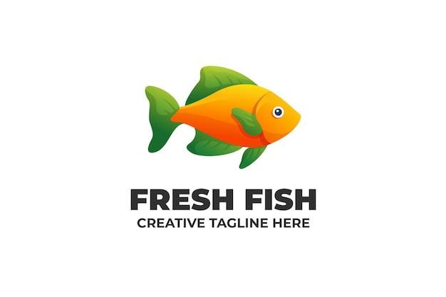 Empresa de logotipo gradiente de peixe fresco