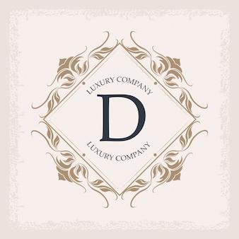 Empresa de luxo d monogram business emblem heraldry