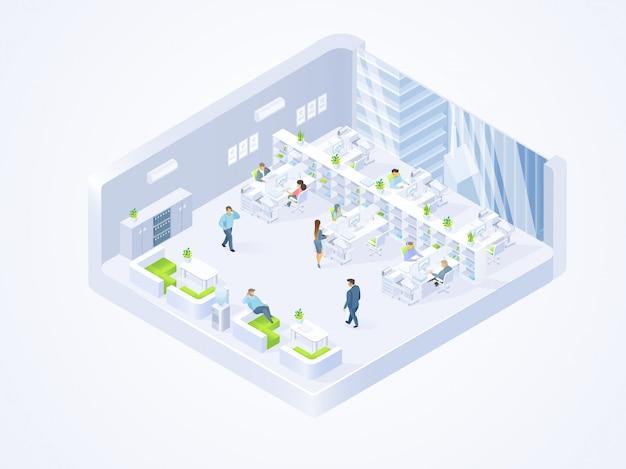 Empresa de negócios, coworking center office interior