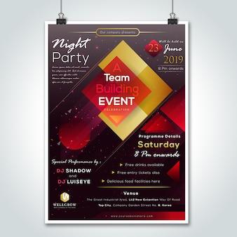 Empresa de noite de festa reunindo flyer design