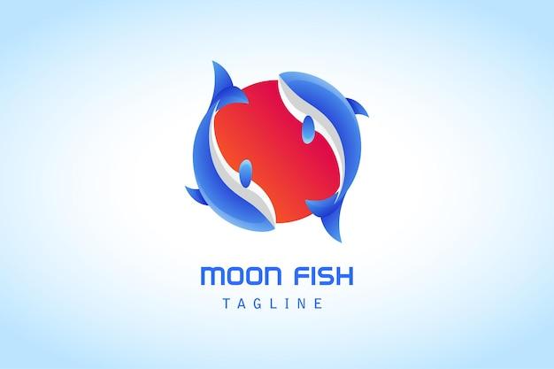 Empresa de peixe azul com logotipo gradiente de círculo vermelho