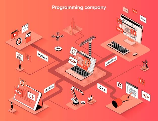 Empresa de programação isométrica web banner isometria plana