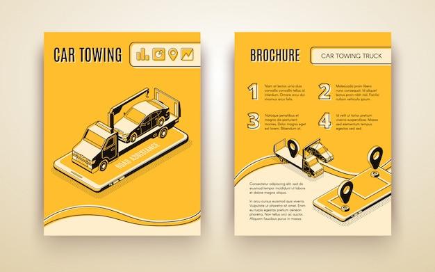 Empresa de reboque de carro, assistente de estrada, folheto de publicidade de vetor isométrica de serviço de reparo de carro ou livro