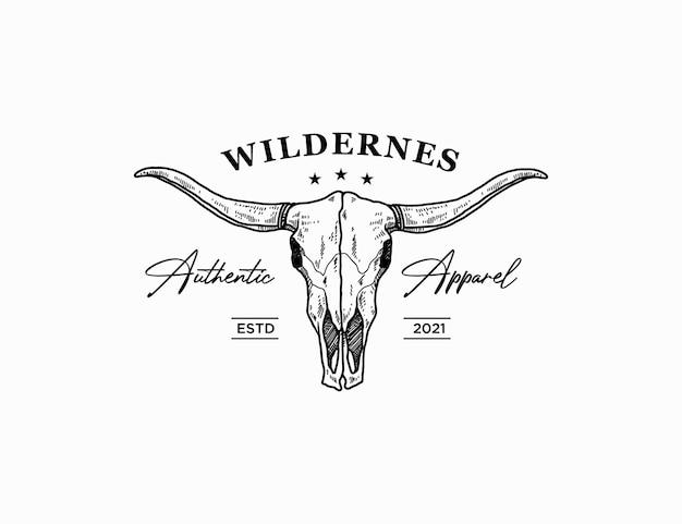 Empresa de roupas com logotipo de crânio longhorn desenhado à mão