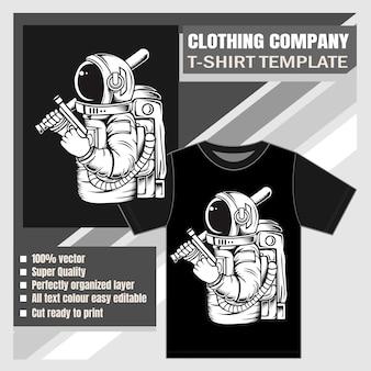 Empresa de roupas, modelo de camiseta, astronauta