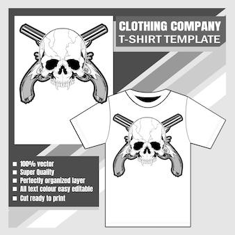Empresa de roupas, modelo de camiseta, caveira e arma