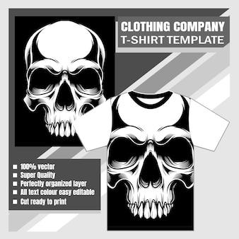 Empresa de roupas, modelo de camiseta, caveira