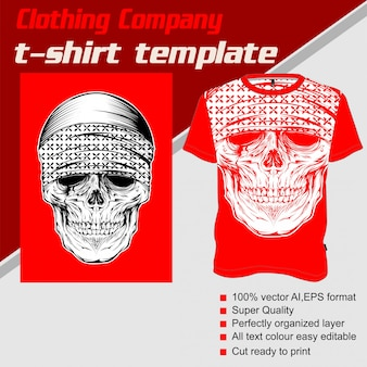 Empresa de roupas, modelo de camiseta, crânio usando bandana