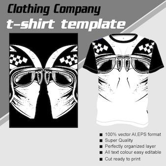Empresa de roupas, modelo de camiseta, crânio usando capacete retrô