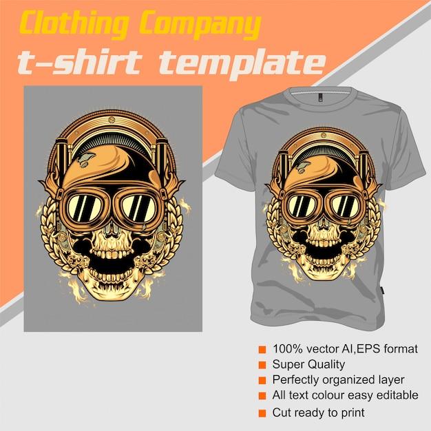 Empresa de roupas, modelo de camiseta, crânio usando capacete