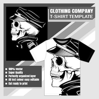 Empresa de roupas, modelo de camiseta, desenho de mão de caveira