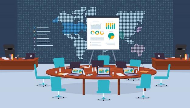 Empresa de sala de conferências para negociações comerciais.