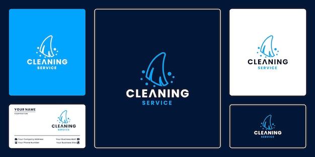 Empresa de serviços de limpeza moderna, design de logotipo de limpeza de aplicativos para lixo