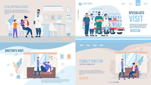 Empresa médica serviço landing page flat set