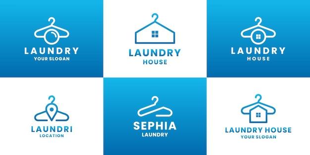 Empresa moderna de design de logotipo de lavanderia de pacote
